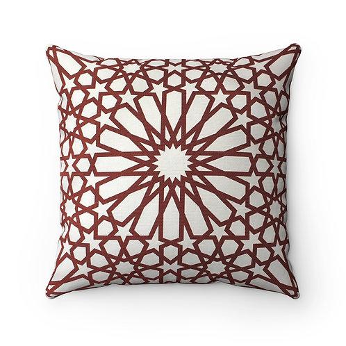 43 x 43 cm Geometric Design Moroccan Tile Print Cushion Pillow Cover - Burgundy