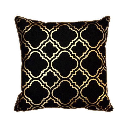 43 x 43cm Metallic Gold Foil Moroccan Quatrefoil Vintage Look Cushion Cover