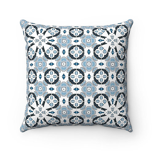 43 x 43cm Geometric Original Moroccan Tiles Home Decor Cushion Cover - Blue