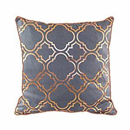 43 x 43cm Metallic Rose Gold Foil Moroccan Quatrefoil Vintage Look Cushion Grey