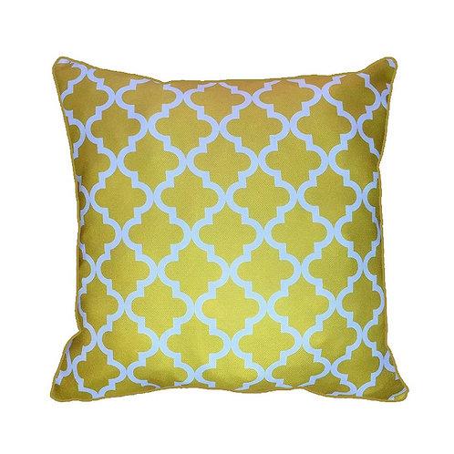 43 x 43cm Geometric Quatrefoil Design Moroccan Tiles Cushion Cover - Yellow