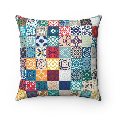 43x43 cm Geometric Spanish Moroccan Design Tiles Cushion Cover - Multi