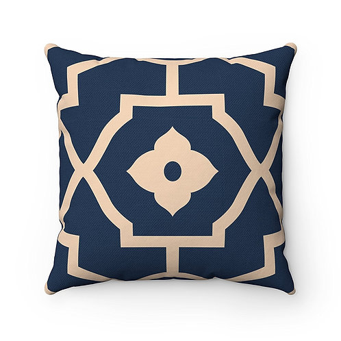 43 x 43cm Canvas Decorative Pattern Moroccan Tiles Cushion Pillow Cover - Navy