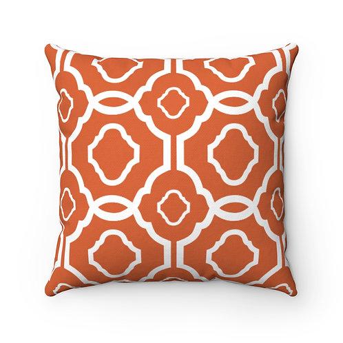 43 x 43cm Geometric Quatrefoil Design Moroccan Tiles Cushion Cover - Orange