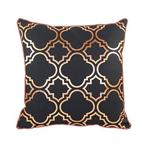 43 x 43cm Metallic Rose Gold Foil Moroccan Quatrefoil Vintage Look Cushion Cover