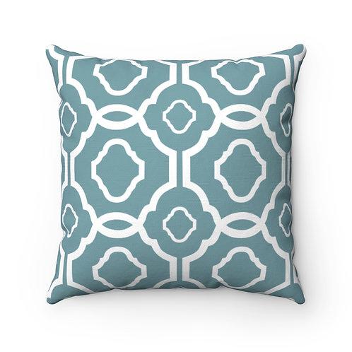 43 x 43cm Geometric Quatrefoil Design Moroccan Tiles Cushion Cover - Teal