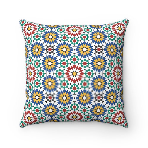 43 x 43cm Geometric Design Original Moroccan Zellige Tiles Cushion Cover
