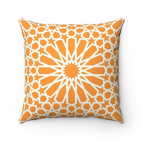 43 x 43 cm Geometric Design Moroccan Tile Print Cushion Pillow Cover - Orange