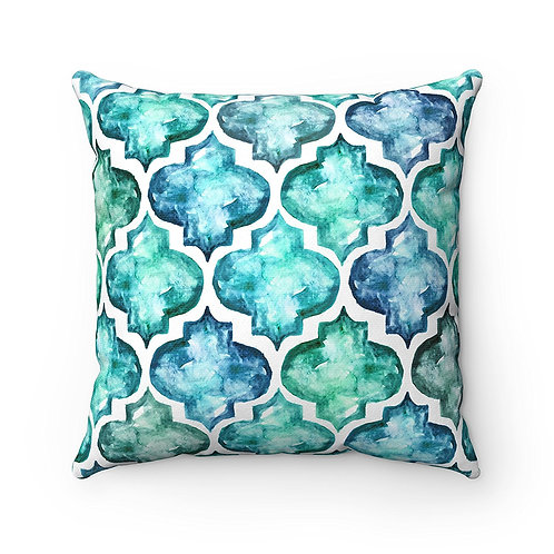 43 x 43 cm Watermark Quatrefoil Tiles Mosaic Moroccan Cushion Pillow Cover Blue