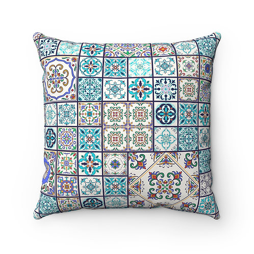 43x43 cm Geometric Spanish Moroccan Design Tiles Cushion Cover - Turquoise