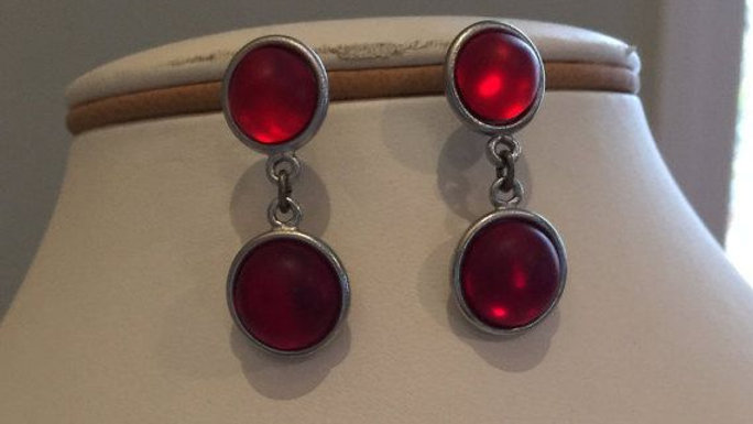 Double Round Red Earrings