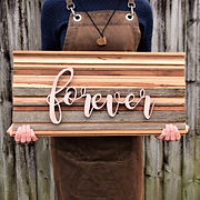 Broken and Resord timber handmade forever sign