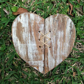 218 white washed Timber heart
