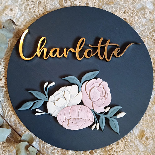Floral design 2 - 40cm Custom name 3d sign