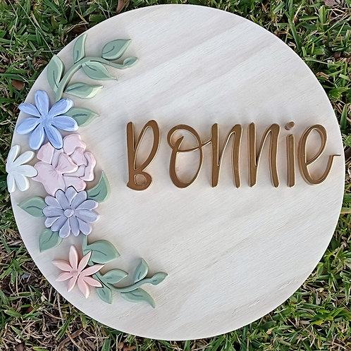 Floral design 3 - 40cm Custom name 3d sign