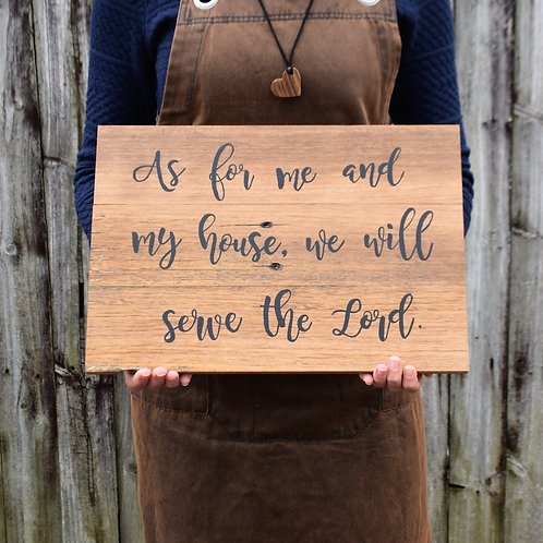 Broken and Restored 'As for me and my house' handpainted sign on reclaimed timber