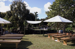 Bamboo Frame Calico Canopy and benches