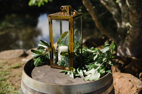 Wine Barrel and Copper lantern