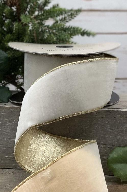 Lush Velvet Winter White with Gold Backing