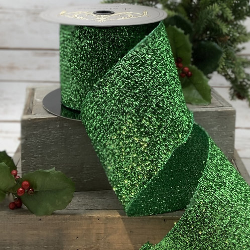 Crinkled Lame Green Ribbon