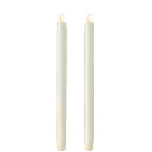 "12.5 "" Moving Flame Set/2 Ivory Taper Candle"