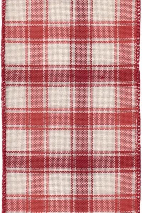 "4"" Linen Plaid Red Ribbon"
