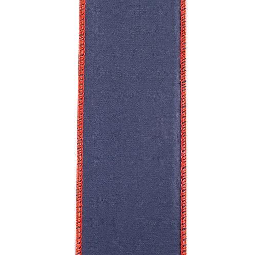 "2.5"" Taffeta Navy with Red Thread Border Ribbon"