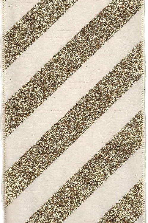 Ivory Bold Glitter Stripe