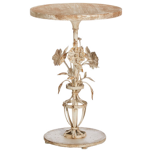 "30"" Distressed Floral Accent Table"