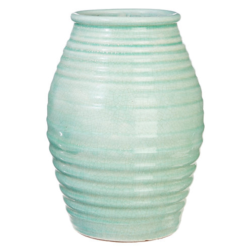 "12.5"" Green Crackle Vase"
