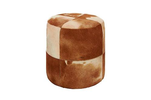Round Cowhide Ottoman - Brown