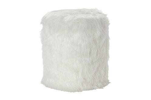 Round White Fur Storage Stool