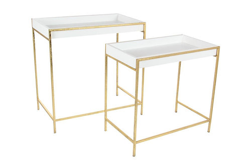 White & Gold Side Tables- 2 sizes, sold seperately
