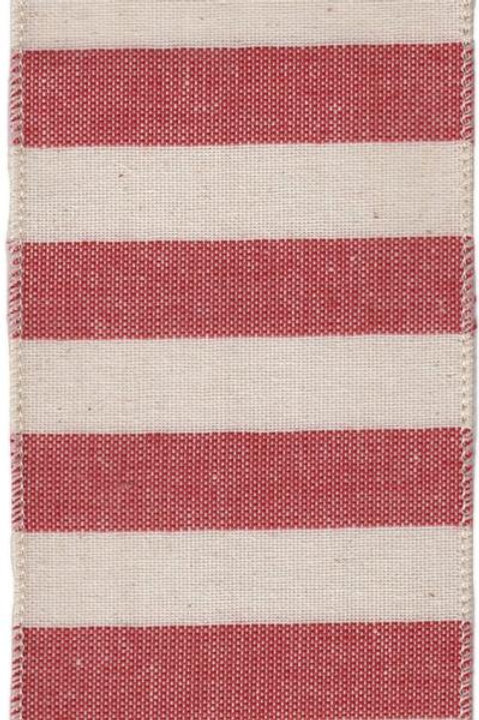 "4"" Canvas Red Natural Stripe Ribbon"