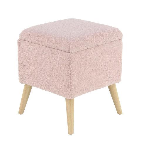 Fur Fabric Storage Seat - Pink