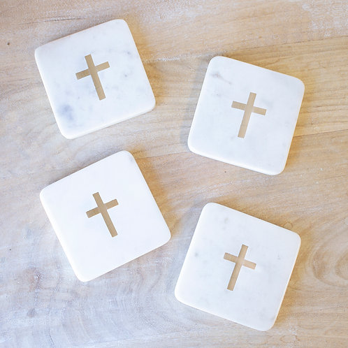 Cross Marble Coaster Set