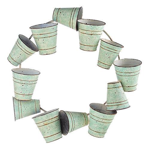 "22.25 "" Distressed Green Bucket Wreath"