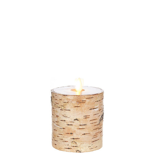 "3.25 ""X4 "" Moving Flame Birch Wrapped Pillar Candle"