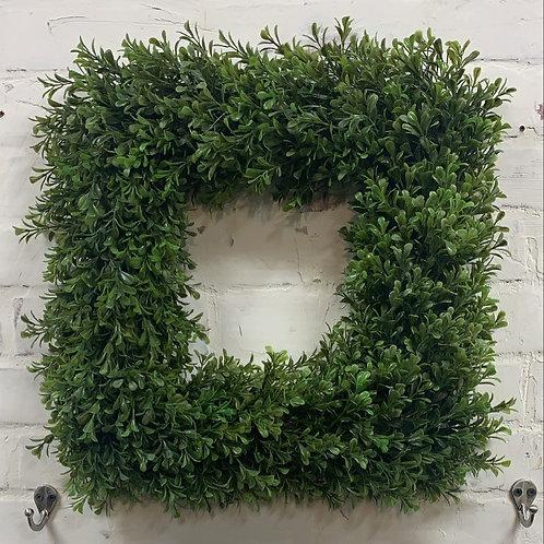 "16"" Faux Square Boxwood Wreath"