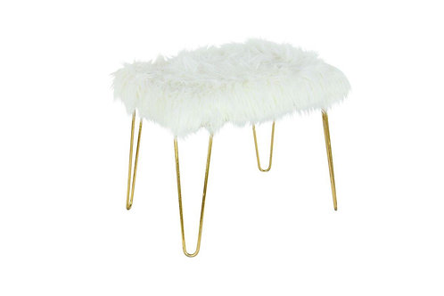 Fur Stool with Gold Legs