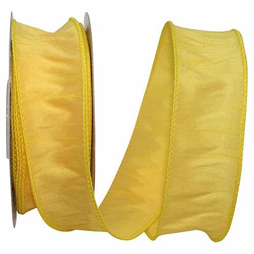 Yellow Silver Dupioni Supreme Silk Ribbon