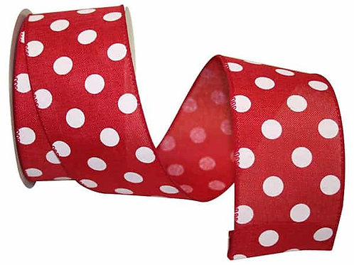 "2.5"" Dot Red and White Ribbon"