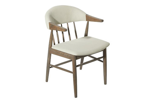 Traditional Wooden Ivory Fabric Chair