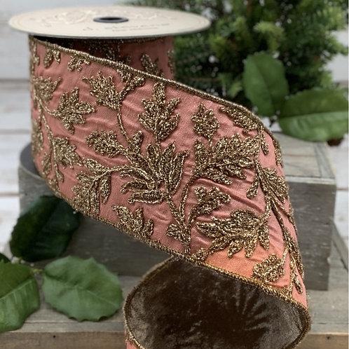 Coral Embroidery Floral Taffeta Ribbon