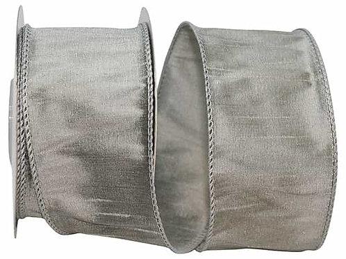 Silver Dupioni Supreme Silk Ribbon