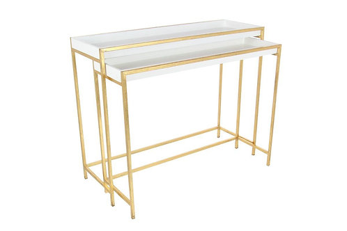 White & Gold Console Tables - 2 sizes, sold seperately