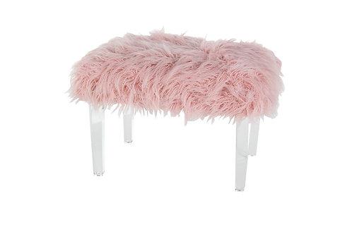 "Pink Fur Stool - 26""W X 17""H"