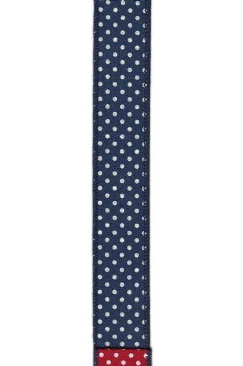 "1.5"" Double Sided Polka Dot Navy Red Ribbon"