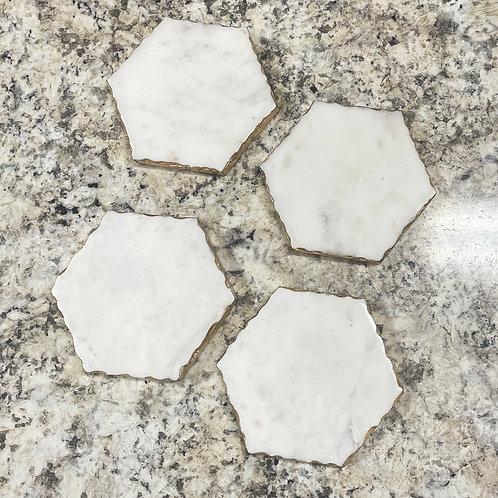Vernazza White Marble Coaster Set
