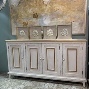 Barrington Sideboard in White with Gold Accents